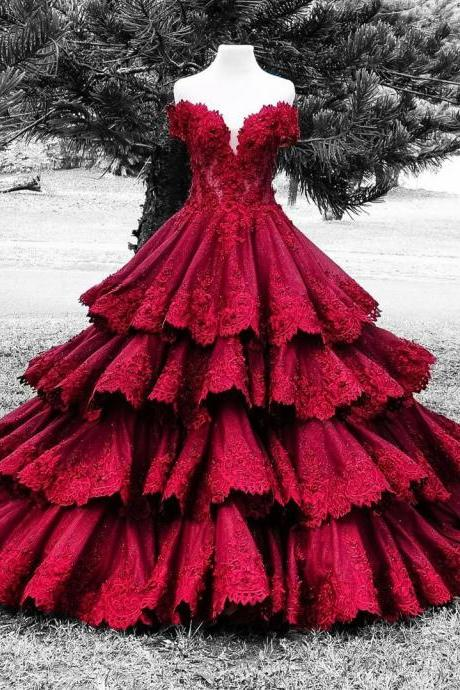burgundy wedding dresses,ruffles wedding dresses,lace wedding gowns,sweetheart bridal dress,elegant wedding dresses