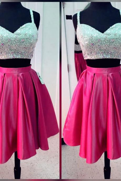 women's party dresses,short satin two piece homecoming dresses with sequin top,sparkly prom gowns,short cocktail dresses