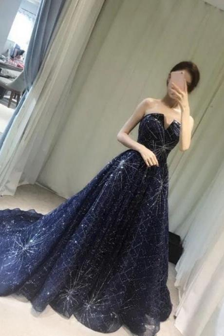 strapless long navy blue sequins beaded ball gowns prom dresses 2017