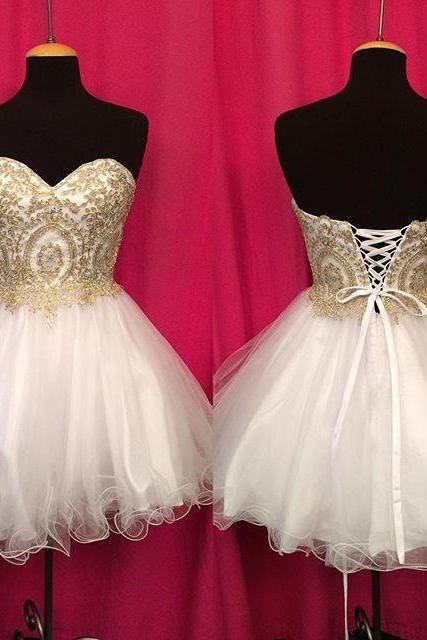 white organza ruffles gold lace appliques sweetheart homecoming dress 2017