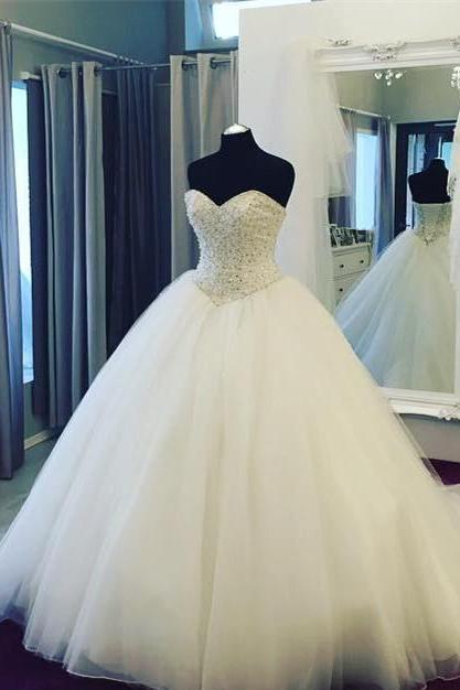 Romantic Pearl Beaded Sweetheart Organza Wedding Dresses Ball Gowns 2017