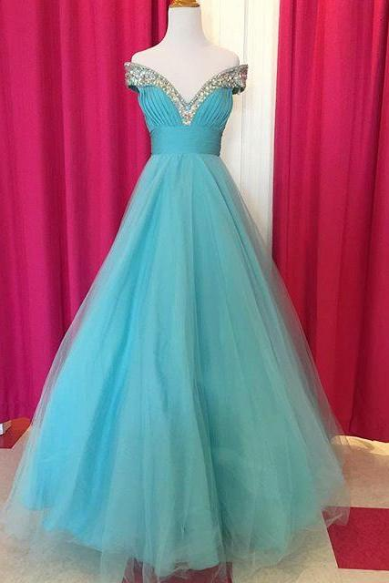 Off The Shoulder Crystal Beaded V Neck Long Tulle Ball Gowns Prom Dress 2017