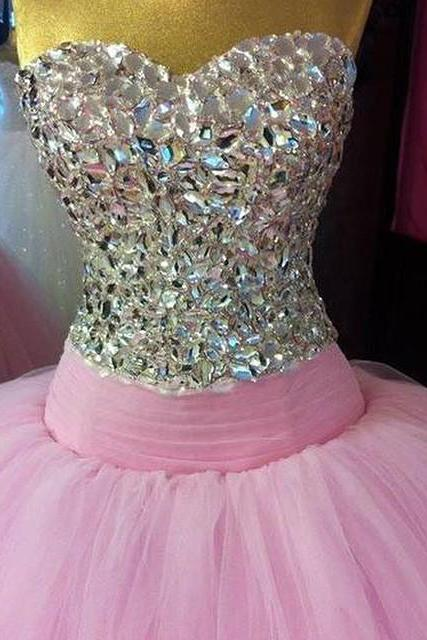 Custom Made Pink Sweetheart Neckline Tulle Floor Length Ball Gown, Prom Dress with Crystal Beading