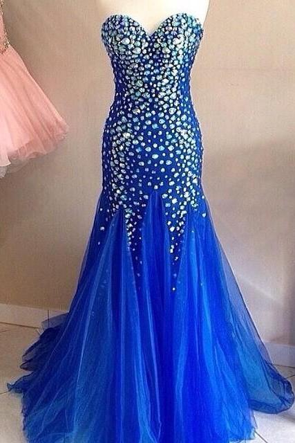 Royal Blue Mermaid Prom Dresses Long Sweetheart Evening Gowns Crystal Beaded 2017