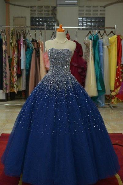 Sparkly Beaded Sweetheart Navy Blue Ball Gowns Prom Dresses 2017