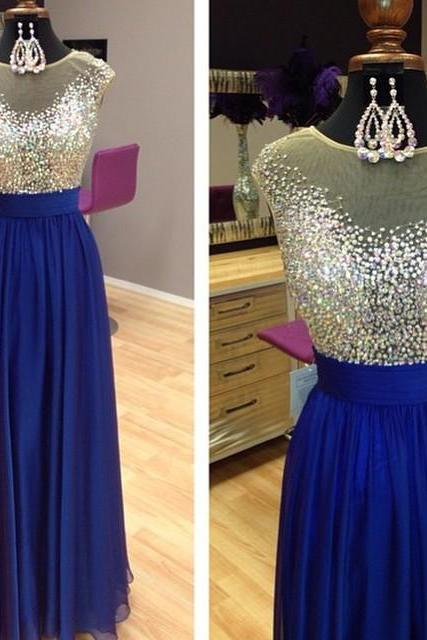 Sparkly Beading Scoop Neckline Long Royal Blue Prom Dress 2017 Cap Sleeves Evening Gowns