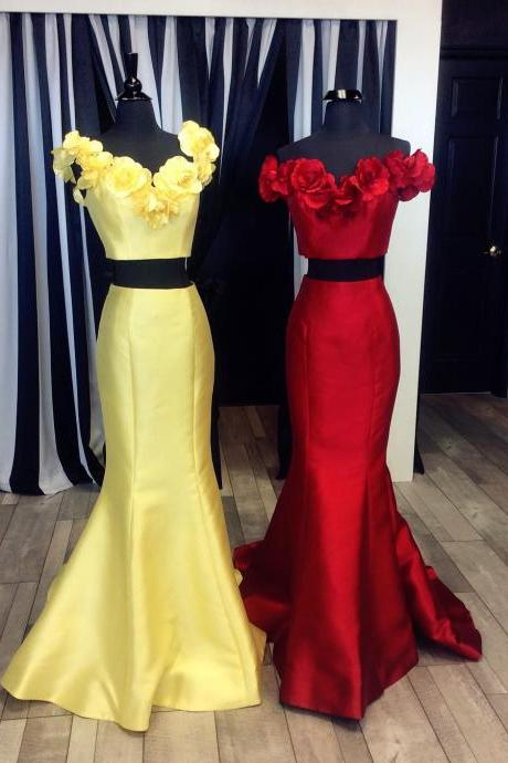 two piece prom dresses,satin prom gowns,flower prom dress,sexy long party dress,off the shoulder dress,elegant prom dress 2017,mermaid prom dress