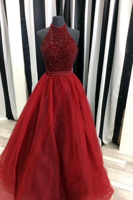 Sparkly Beaded Halter Long Organza Ball Gowns Prom Dress 2017 Burgundy Evening Gowns