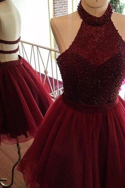 burgundy homecoming dresses,short prom dresses,halter prom gowns,sparkly dress,semi formal dress,beaded prom dress