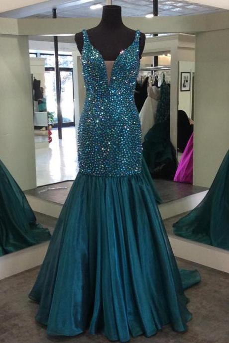 v neck crystal beaded mermaid prom dresses 2017 sparkly gowns
