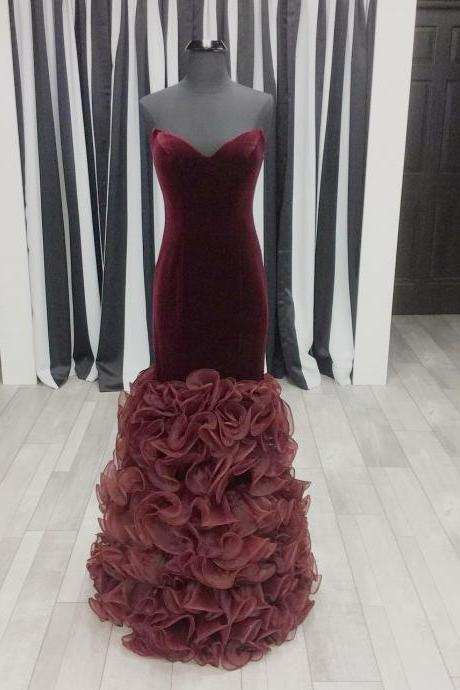 long velvet prom dresses,burgundy prom dress,organza ruffles dress,burgundy evening gowns,mermaid prom dresses 2017,sweetheart prom gowns