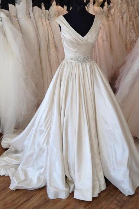vintage v neck ball gowns wedding dress 2017