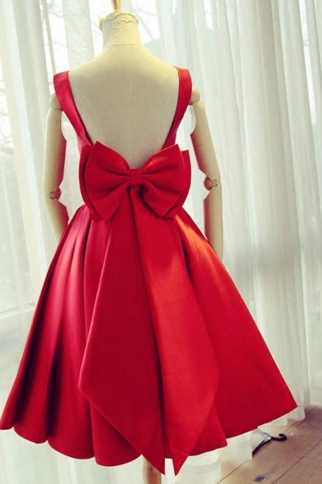 Red Satin Bow Back Party Dresses,Short Homecoming Dresses,Ball Gowns Prom Dress 2017
