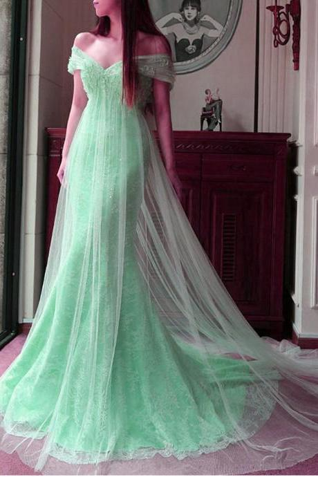 Mint Tulle Lace Off The Shoulder Mermaid Evening Dresses Elegant Prom Dress 2017 Long