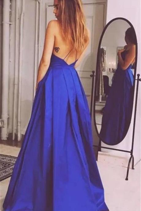 open back dress,royal blue prom dress,long party dress,prom gowns 2017