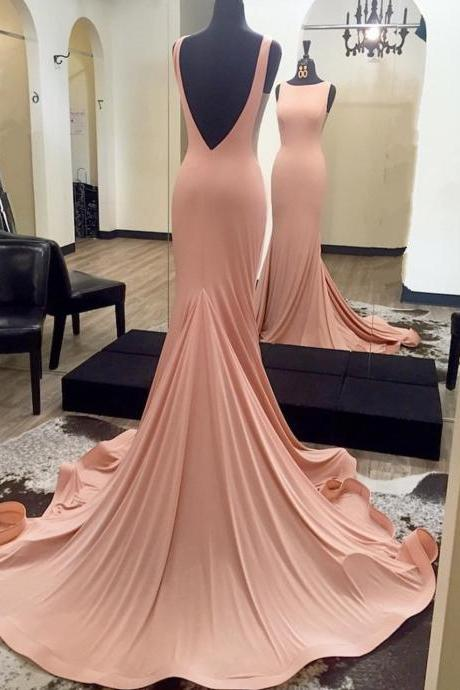 pink prom dress,mermaid prom dresses,sexy long evening dresses,prom dress 2017,backless formal gowns