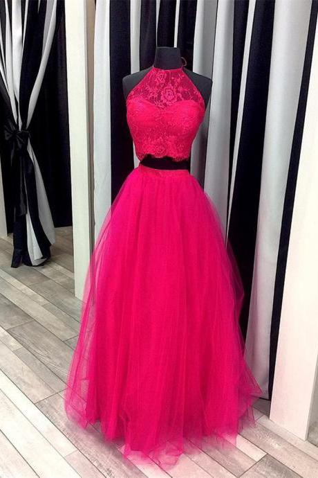 pink prom dress,ball gowns prom dresses,two piece prom dress,lace crop top,elegant party dress