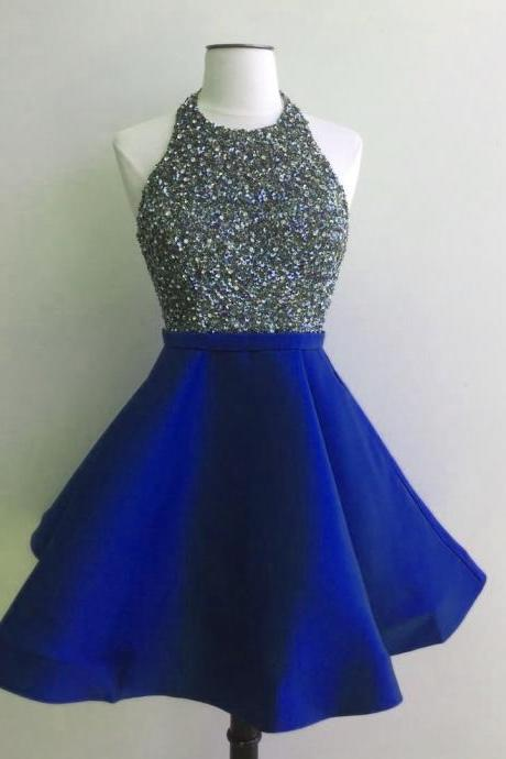 halter prom dress,sequins dress,short prom gowns,sequins homecoming dress,sparkly dress