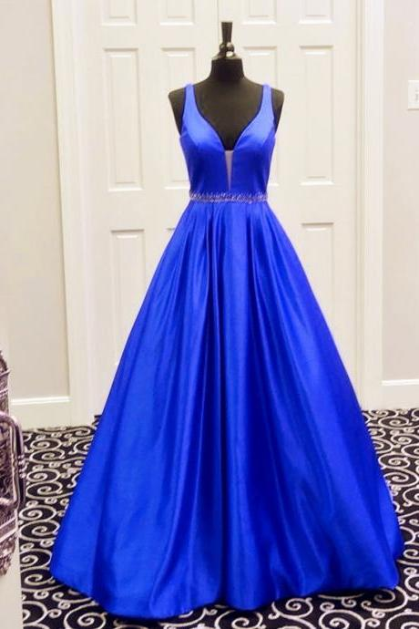 v neck prom dress,ball gowns prom dress,sexy prom gowns,long prom dress,satin evening gowns