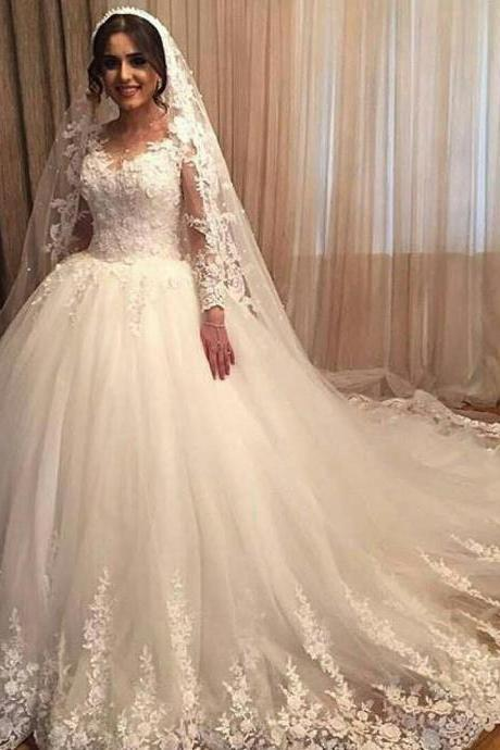 vintage wedding gowns,lace wedding dresses,princess bridal dress,long sleeves wedding gowns,bride dresses 2017