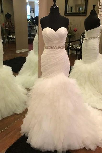 Mermaid Wedding Gowns,Tulle Wedding Dresses,Bridal Gowns,Wedding Dresses 2017,Sexy Wedding Dresses