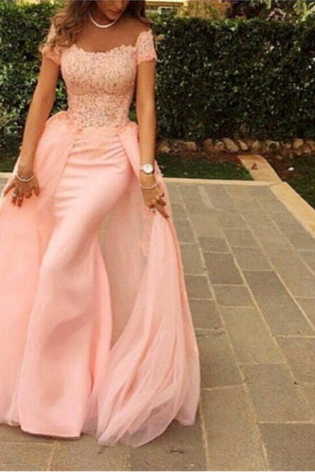 Elegant Lace Appliques Long Blush Pink Mermaid Evening Gowns 2017