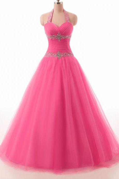 Halter Neck Surplice Pleated Bodice Lace up Back Beaded Pink Tulle Prom Dresses Ball Gowns 2017 Quinceanera Dresses