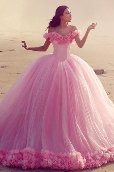 Pink Wedding Dresses,Floral Dresses,Flower Wedding Dresses,Pink Quinceanera Dresses,Wedding Photography Dresses