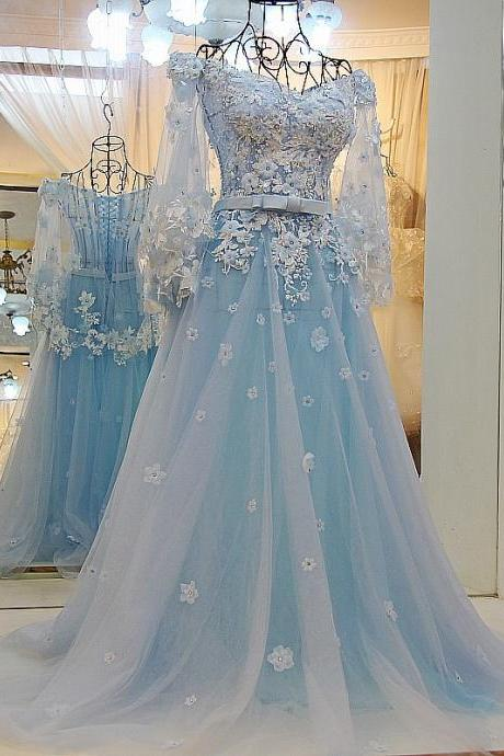Light Blue Wedding Dresses,Lace Wedding Gowns,Elegant Prom Dress,Ball Gowns Prom Dress 2017
