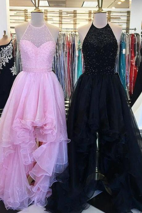 high low prom dress,Beaded Prom Gowns,Pink Prom Dress,Black Prom Dress,Prom Dresses 2017