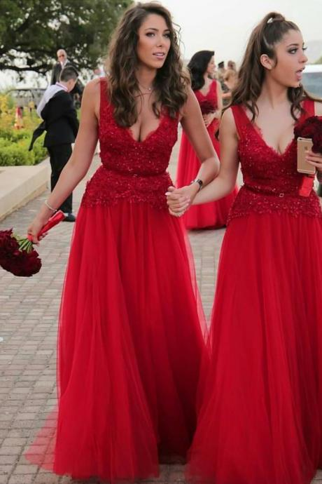 v neck bridesmaid dress,long bridesmaid dress,red formal dress,sexy party dress,chic bridesmaid gowns