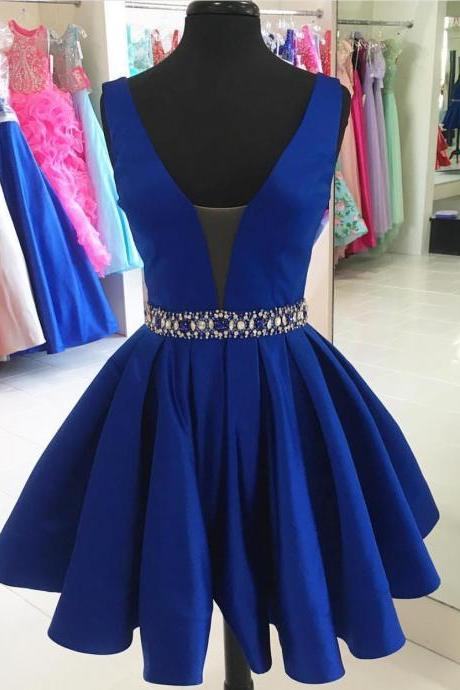 sexy v neck prom short dresses, satin gowns,royal blue homecoming dress,short cocktail dress