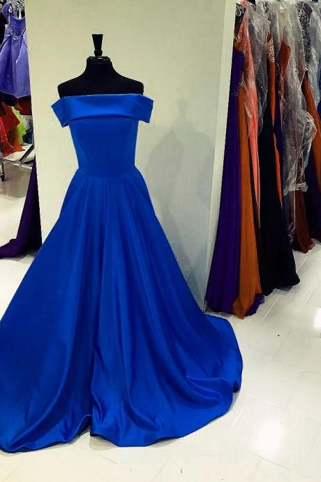 Strapless Prom Dresses,Satin Evening Gowns,Royal Blue Ball Gowns,Sexy Long Party Dress
