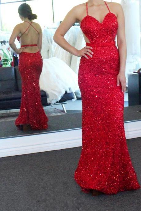 sequins prom dress,mermaid evening gowns,mermaid prom dress,sexy backless prom dresses