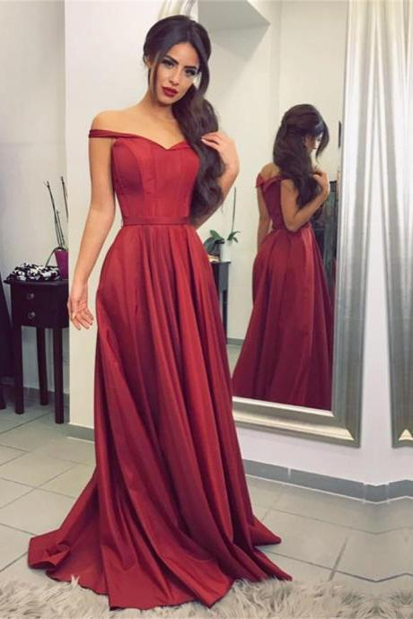 burgundy bridesmaid dress,satin prom dress,off the shoulder evening gowns,sexy long formal dress