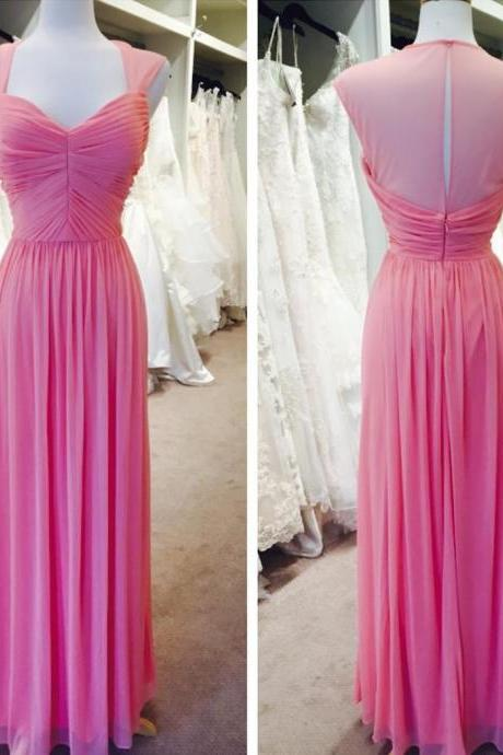 pink bridesmaid dress,chiffon bridesmaid dress,elegant formal dress,long evening gowns