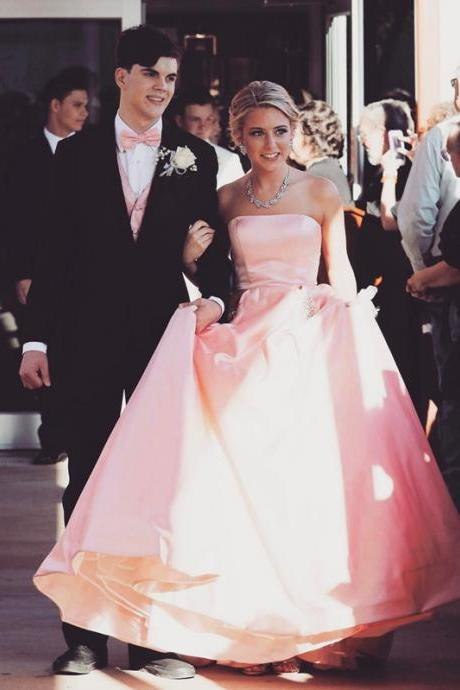 blush pink prom dress,princess dress,sexy prom gowns,ball gown prom dress,satin evening dress,prom dresses 2017
