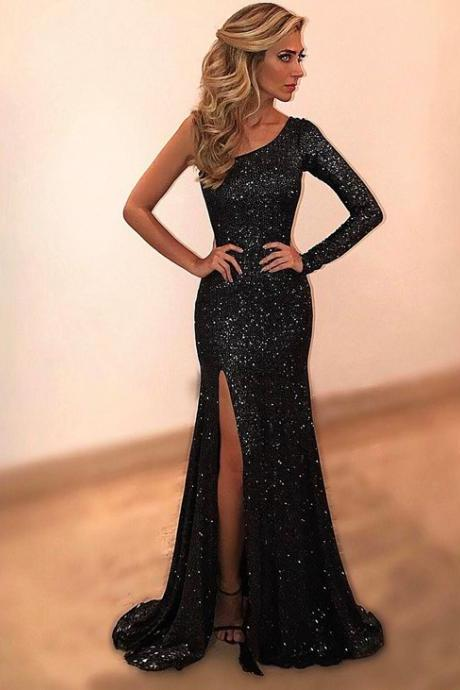 one shoulder prom dress,slit prom dress,mermaid evening dress,mermaid prom dresses 2017,sexy prom gowns