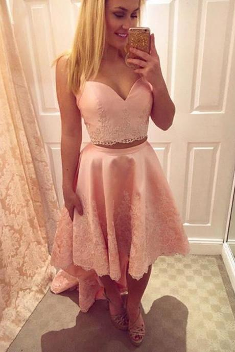 pink prom dress,two piece prom dress,high low prom dresses,elegant homecoming dresses 2017
