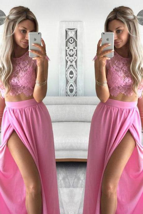 pink prom dress,lace appliques prom dress,two piece prom dress,elegant evening dress,elegant party dresses