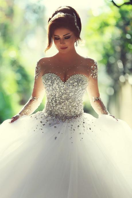 long sleeves wedding dress,crystal wedding dress,open back wedding gowns,luxury wedding gowns