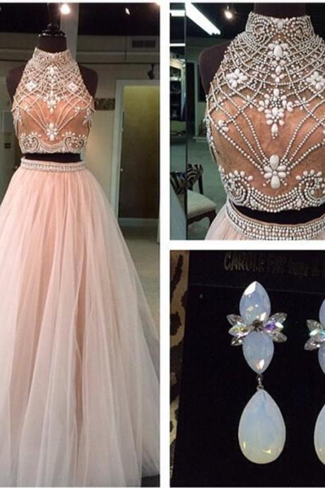 champagne prom dress,pearl beaded ball gowns,two piece prom dresses 2017,sexy prom dresses