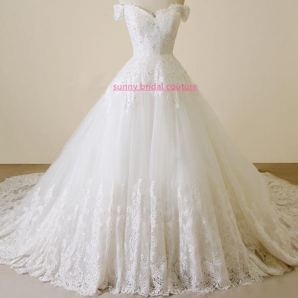 Off-The-Shoulder Lace Appliqués Ball Gown, Wedding Dress with Long Train