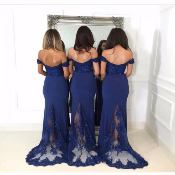 navy blue bridesmaid dress,mermaid prom dresses 2017,long bridesmaid dresses ,elegant bridesmaid gowns lace appliques