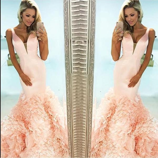coral prom dress,mermaid prom dress,ruffles dress,mermaid evening dress,pageant gowns