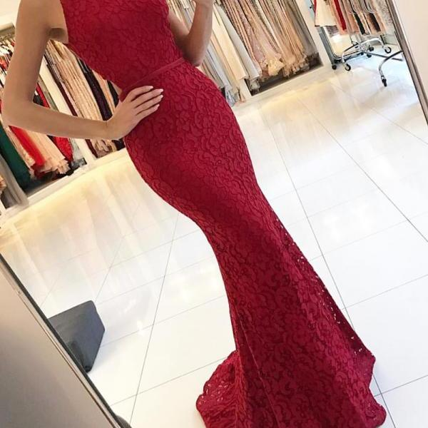 lace evening dress,mermaid evening gowns,mermaid prom dress,long formal dress,burgundy prom dress